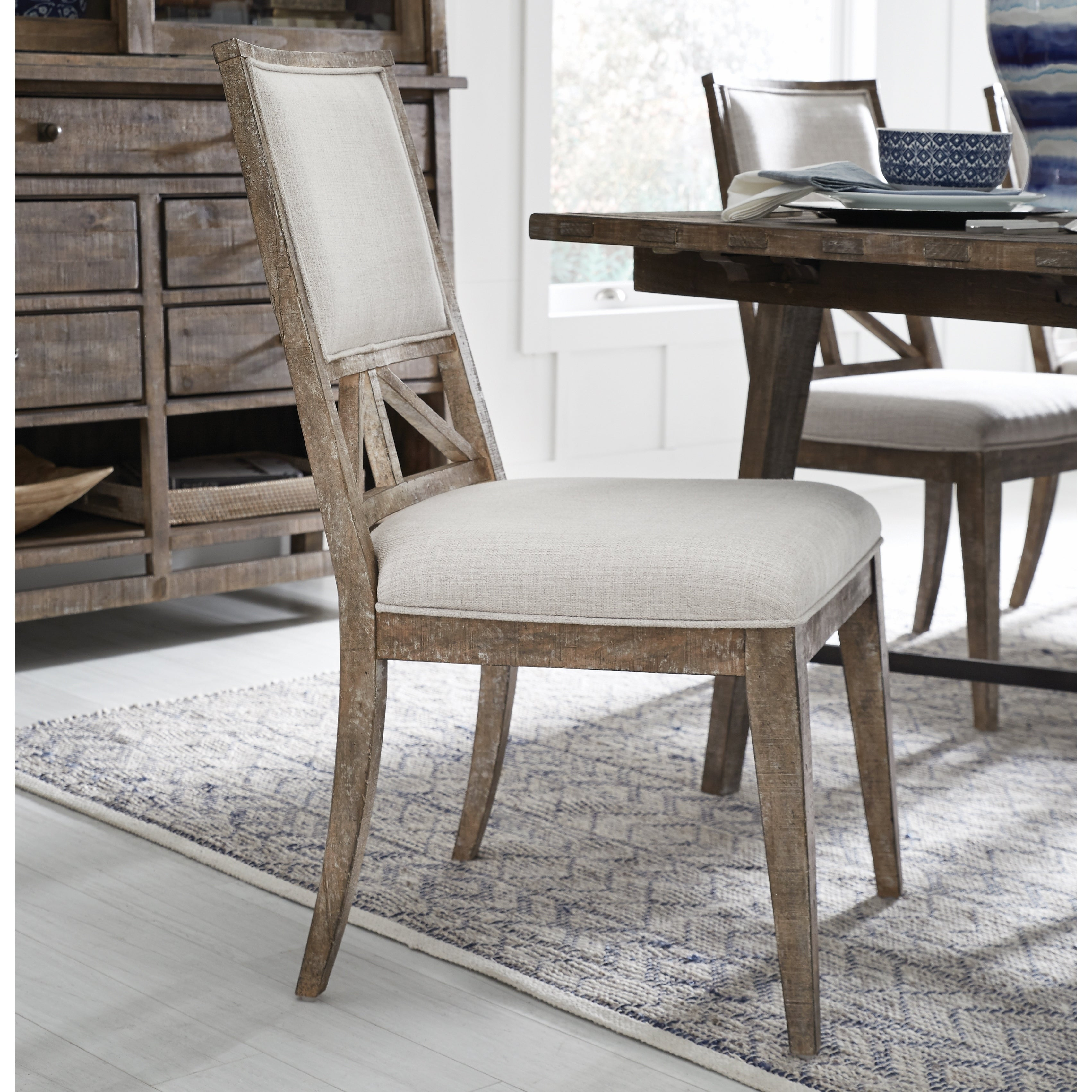 Bluff Heights Rustic Weathered Nutmeg Upholstered Side Chair