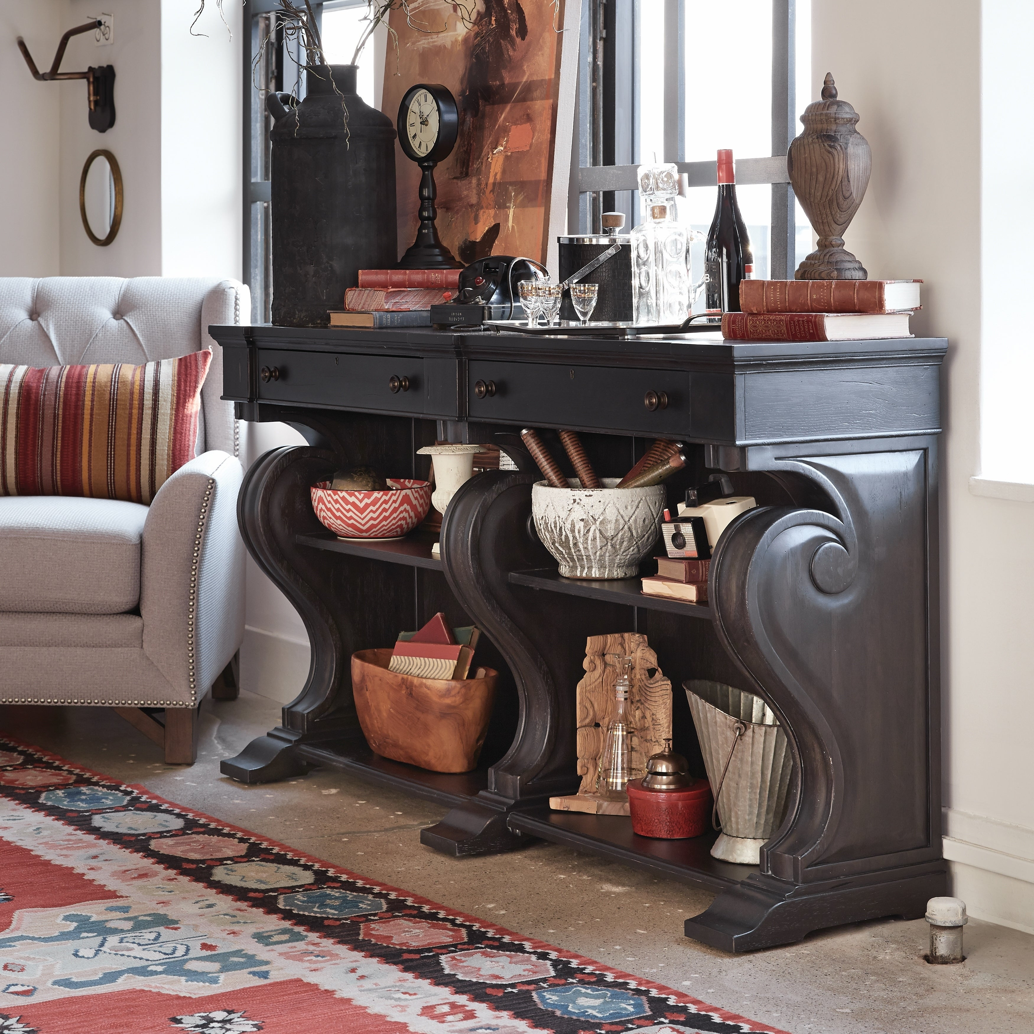 Hudson Square Traditional Vintage Charcoal Sideboard