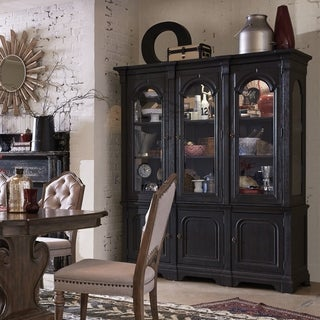 Hudson Square Traditional Vintage Charcoal China Cabinet - N/A