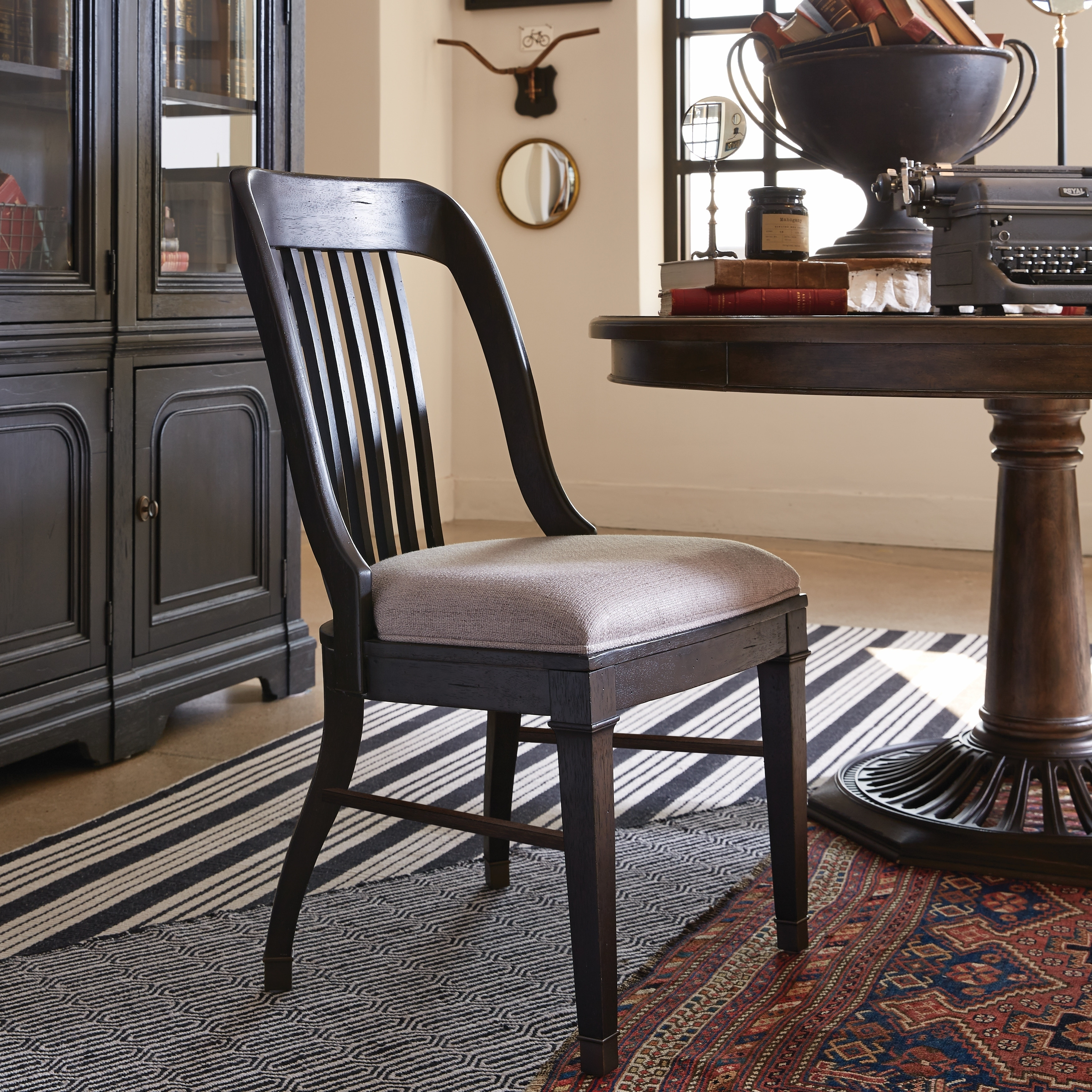 Hudson Square Traditional Vintage Charcoal Side Chair