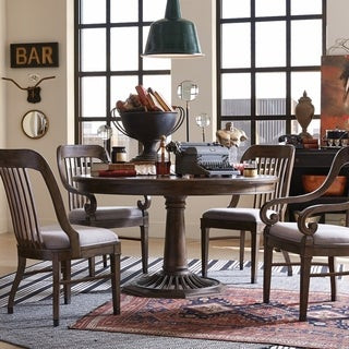 Jefferson Market Traditional Aged Whiskey Round Dining Table - aged whiskey