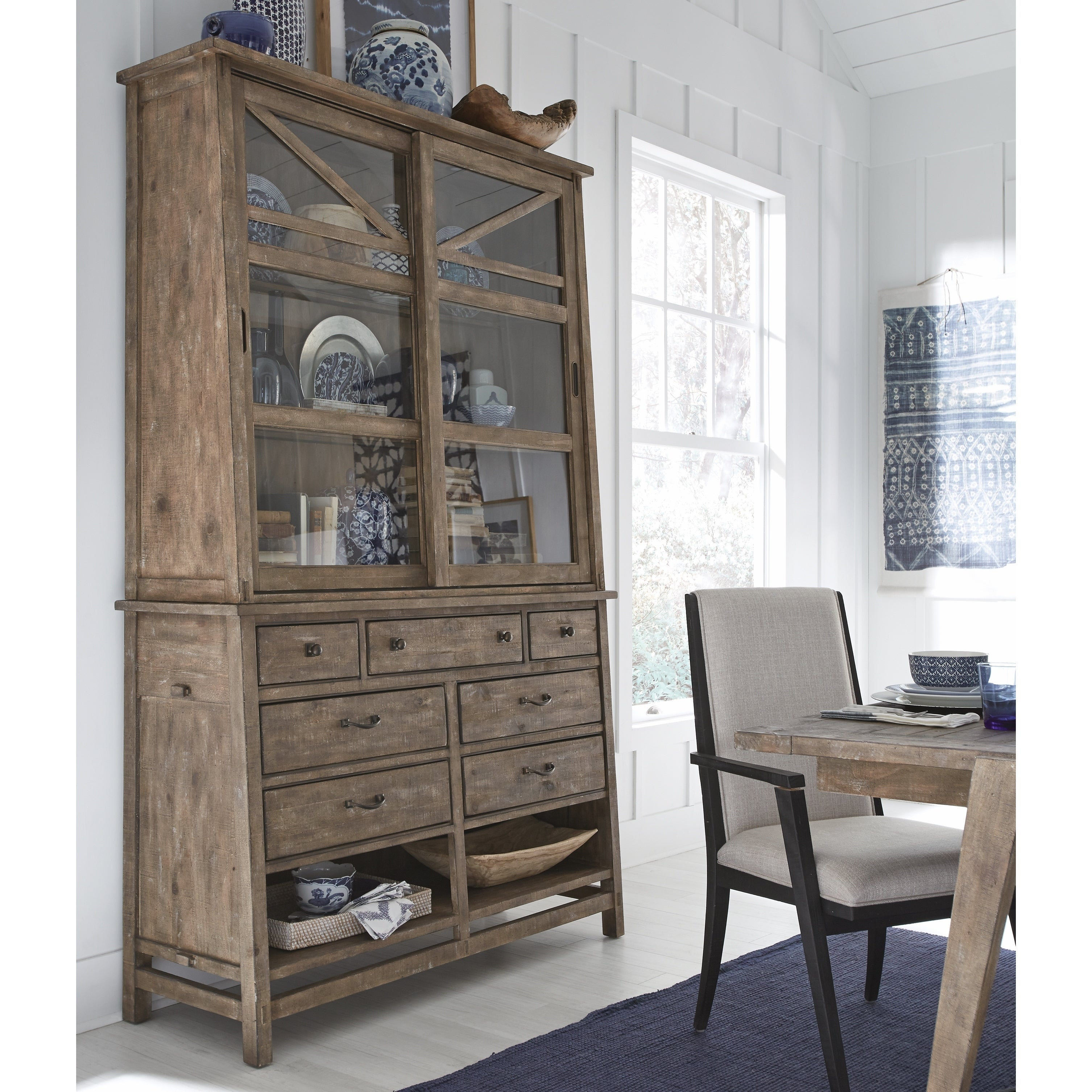 Bluff Heights Rustic Weathered Nutmeg Server with Hutch