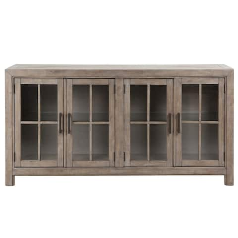 The Gray Barn Manderley Traditional Dove Tail Grey Buffet Curio Cabinet