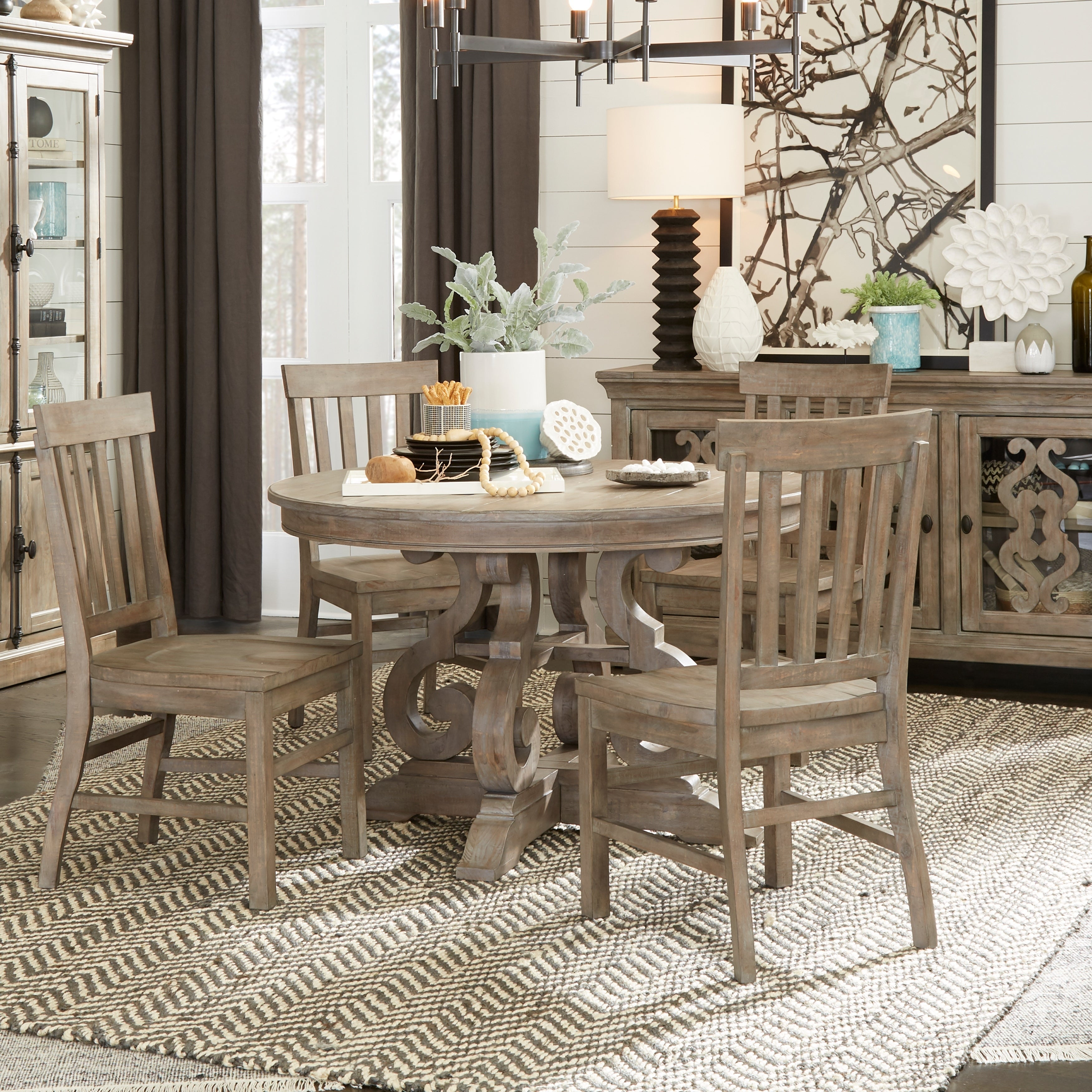 The Gray Barn Manderley Traditional Dove Tail Grey 48 Inch Round Dining Table