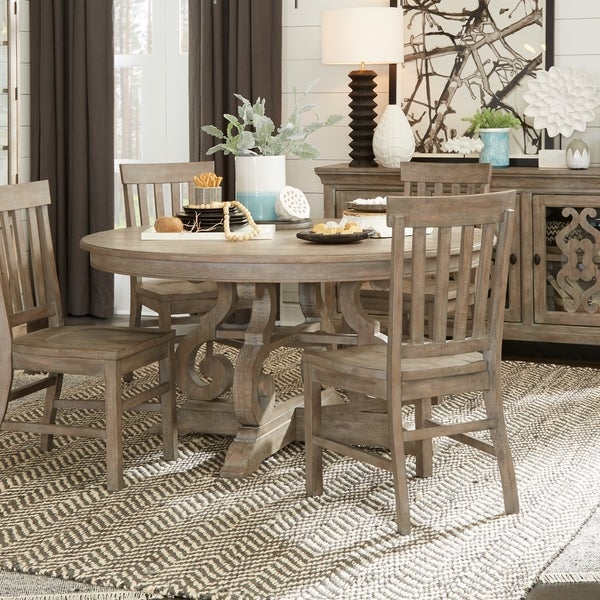 Shop Tinley Park Traditional Dovetail Grey 60 Round Dining Table