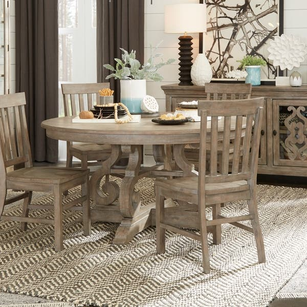 The Gray Barn Manderley Traditional Dovetail Grey 60 Inch Round Dining Table Dove Tail