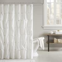 INK+IVY Masie Cotton Shower Curtain Navy (As Is Item)