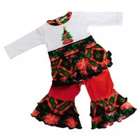 AnnLoren Girls Christmas Tree Plaid 2 piece Outfit for 18 inch Dolls
