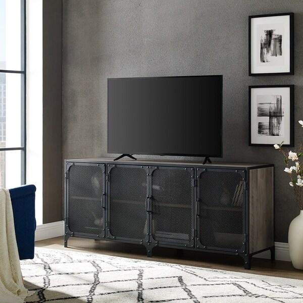 Shop 60 Quot Mesh Door Industrial Tv Stand Console 60 X 16 X