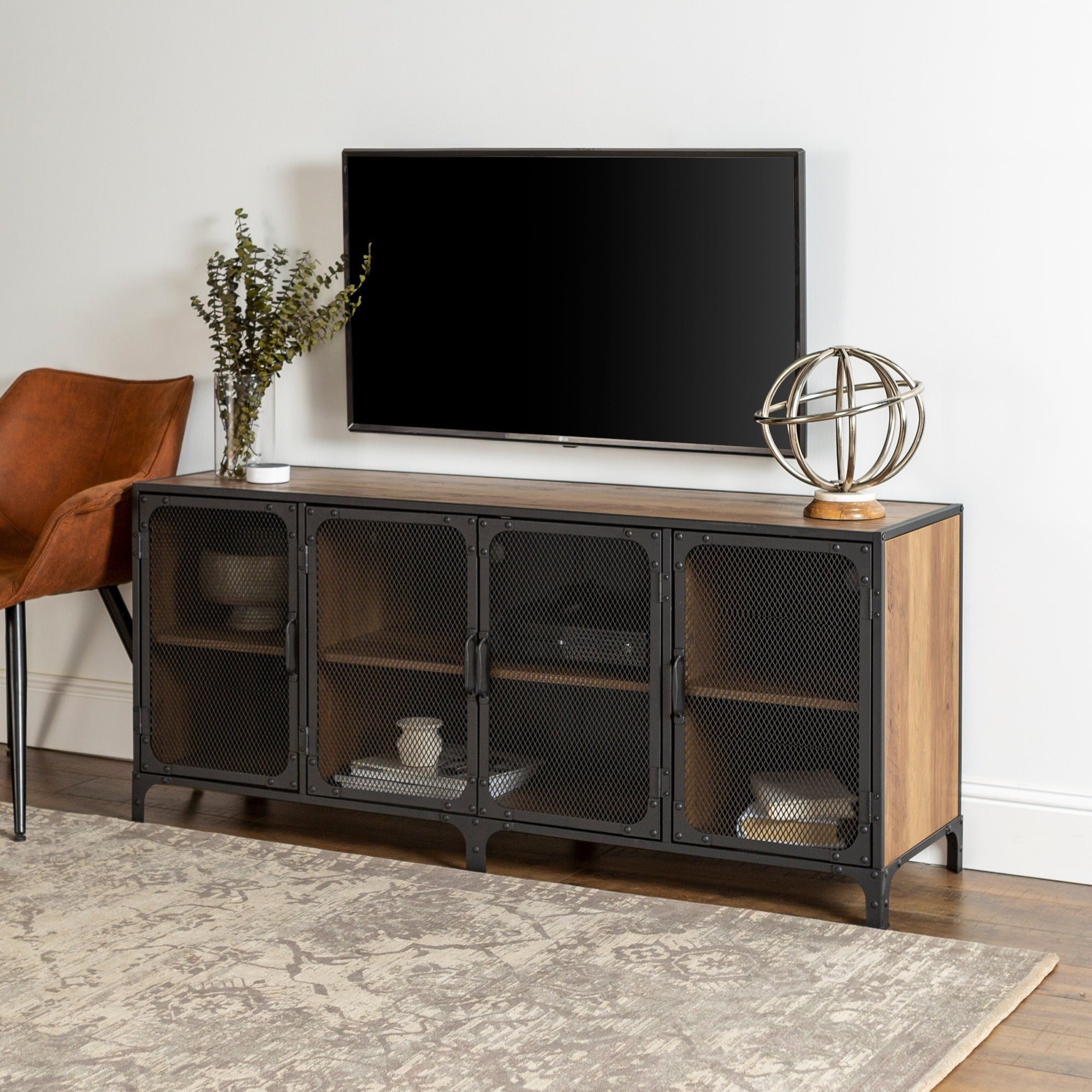 release date 9076a 64153 Carbon Loft Pierpont Mesh Door Industrial TV Stand Console - 60 x 16 x 26h