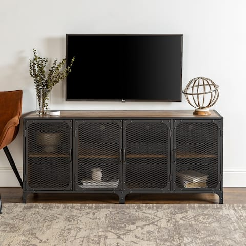 Carbon Loft Pierpont Mesh Door Industrial TV Stand Console - 60 x 16 x 26h
