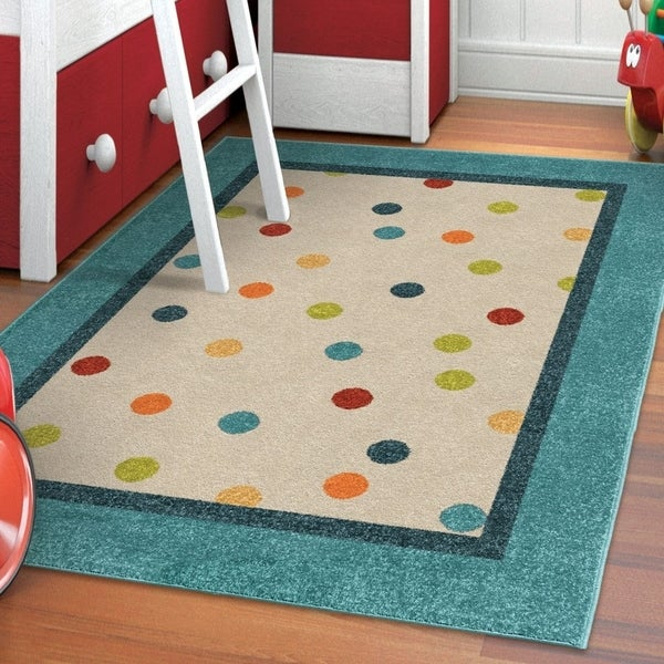 Carolina Weavers Playroom Collection Dotted Border Teal Area Rug - 5'2 x 7'6