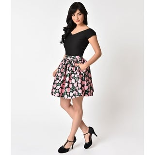 Unique Vintage Floral High Waist Flare Skirt