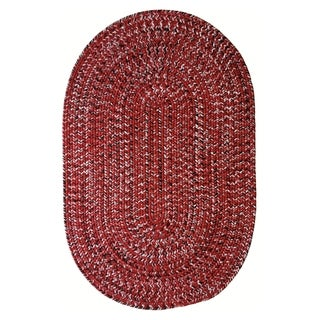 Team Spirit Red Black Hand-Braided Oval Area Rug - 2'3 x 4'