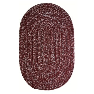 Team Spirit Maroon Grey Hand-Braided Oval Area Rug - 8' x 11'
