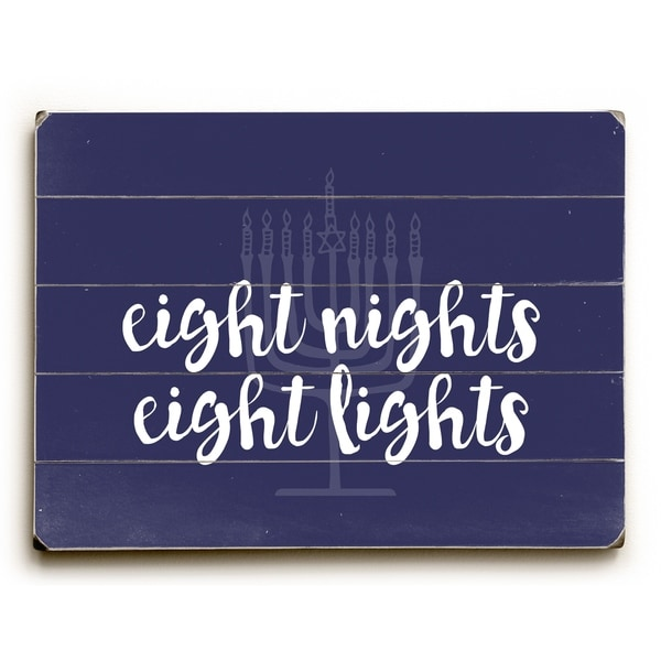 Eight Nights Eight Lights - Navy Planked Wood Wall Decor by OBC