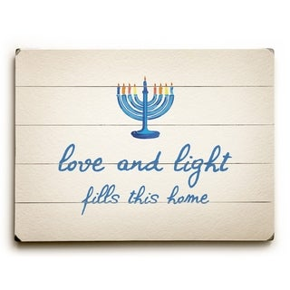 Love And Light - Tan  Planked Wood Wall Decor by OBC