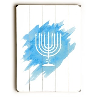 Menorah - Blue  Planked Wood Wall Decor by OBC