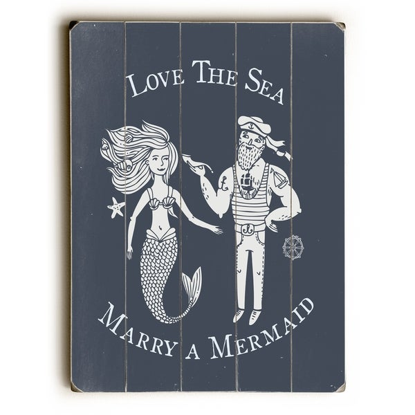 Marry A Mermaid Navy - Navy Planked Wood Wall Decor by OBC