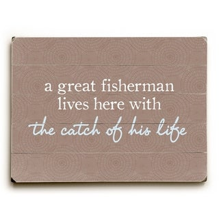 Fisherman Catch Of Life - Brown  Planked Wood Wall Decor by OBC