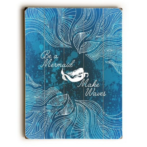 Make Waves Dark Blue - Blue Planked Wood Wall Decor by OBC