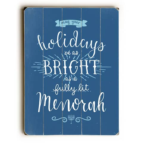 Fully Lit Menorah - Blue Planked Wood Wall Decor by OBC