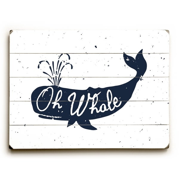 Oh Whale - White Planked Wood Wall Decor by OBC