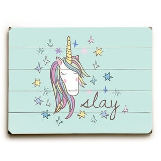 Slay Unicorn - Multi  Planked Wood Wall Decor by OBC