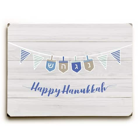 Happy Hanukkah Strand - Light Gray Planked Wood Wall Decor by OBC