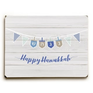 Happy Hanukkah Strand - Light Gray  Planked Wood Wall Decor by OBC