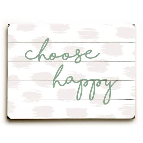Choose Happy Green - Green Planked Wood Wall Decor by OBC