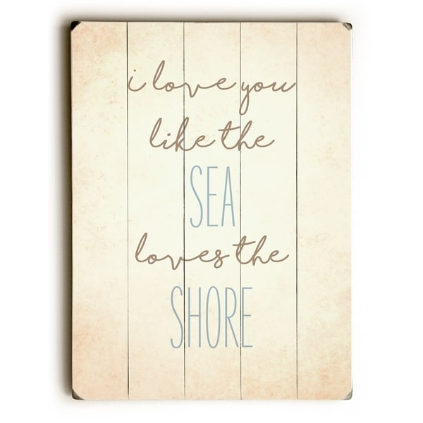 Sea Loves Shore - Tan Planked Wood Wall Decor by OBC