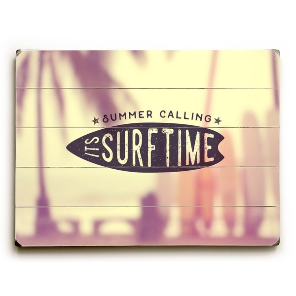 Summer Calling Surftime - Yellow Planked Wood Wall Decor by OBC