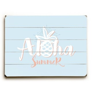 Aloha Summer - Blue  Planked Wood Wall Decor by OBC