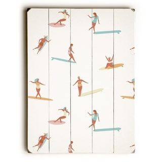Surf Babes - Tan  Planked Wood Wall Decor by OBC