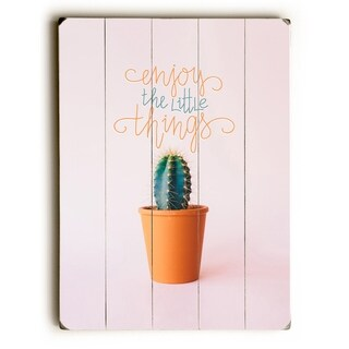Enjoy The Little Things - Pink  Planked Wood Wall Decor by OBC