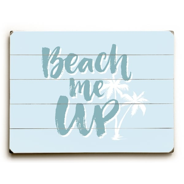 Beach Me Up - Blue Planked Wood Wall Decor by OBC