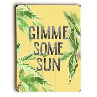 Gimme Some Sun - Yellow  Planked Wood Wall Decor by OBC