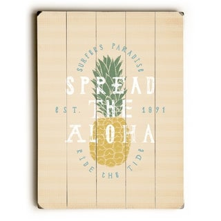 Spread The Aloha - Tan  Planked Wood Wall Decor by OBC