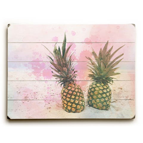 Pineapples In Paradise - Pink Planked Wood Wall Decor by OBC