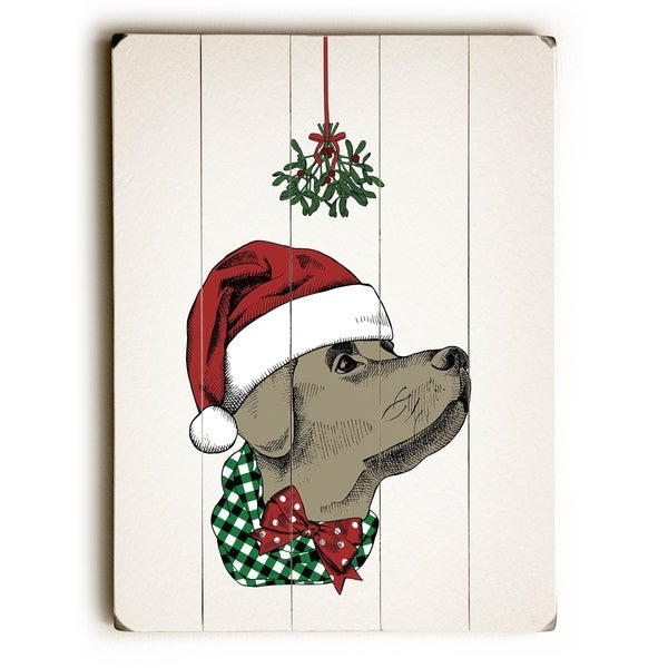 Mistletoe Christmas Dog - Tan Planked Wood Wall Decor by OBC