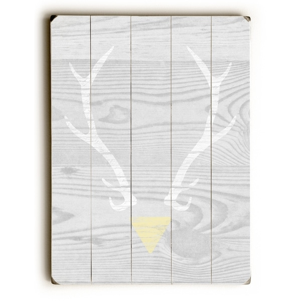 Antler Triangle - Grey Planked Wood Wall Decor by Cheryl Overton