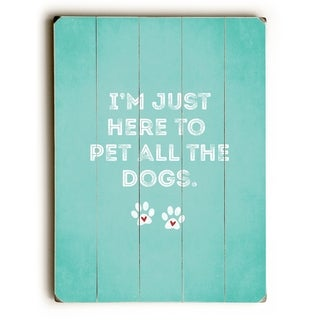 Pet All The Dogs - Blue  Planked Wood Wall Decor by Cheryl Overton
