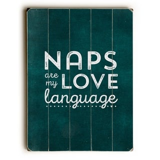Naps - Teal  Planked Wood Wall Decor by Cheryl Overton