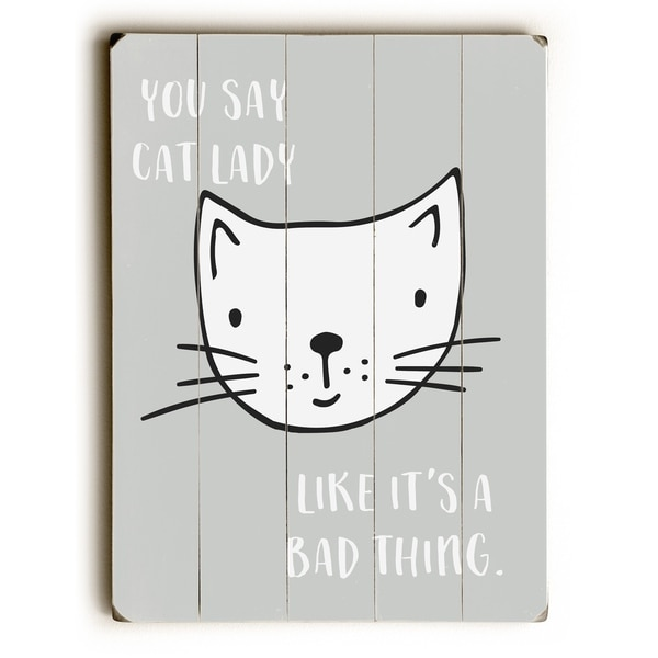 Cat Lady - Gray Planked Wood Wall Decor by Cheryl Overton