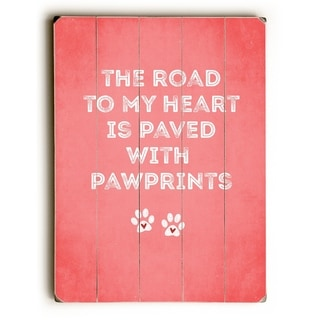 Road To My Heart - Red  Planked Wood Wall Decor by Cheryl Overton