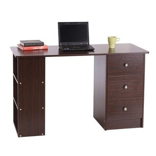 HomCom Espresso Brown Wood Finish 47-inch Home Office Computer Desk with Shelves 3 Drawers