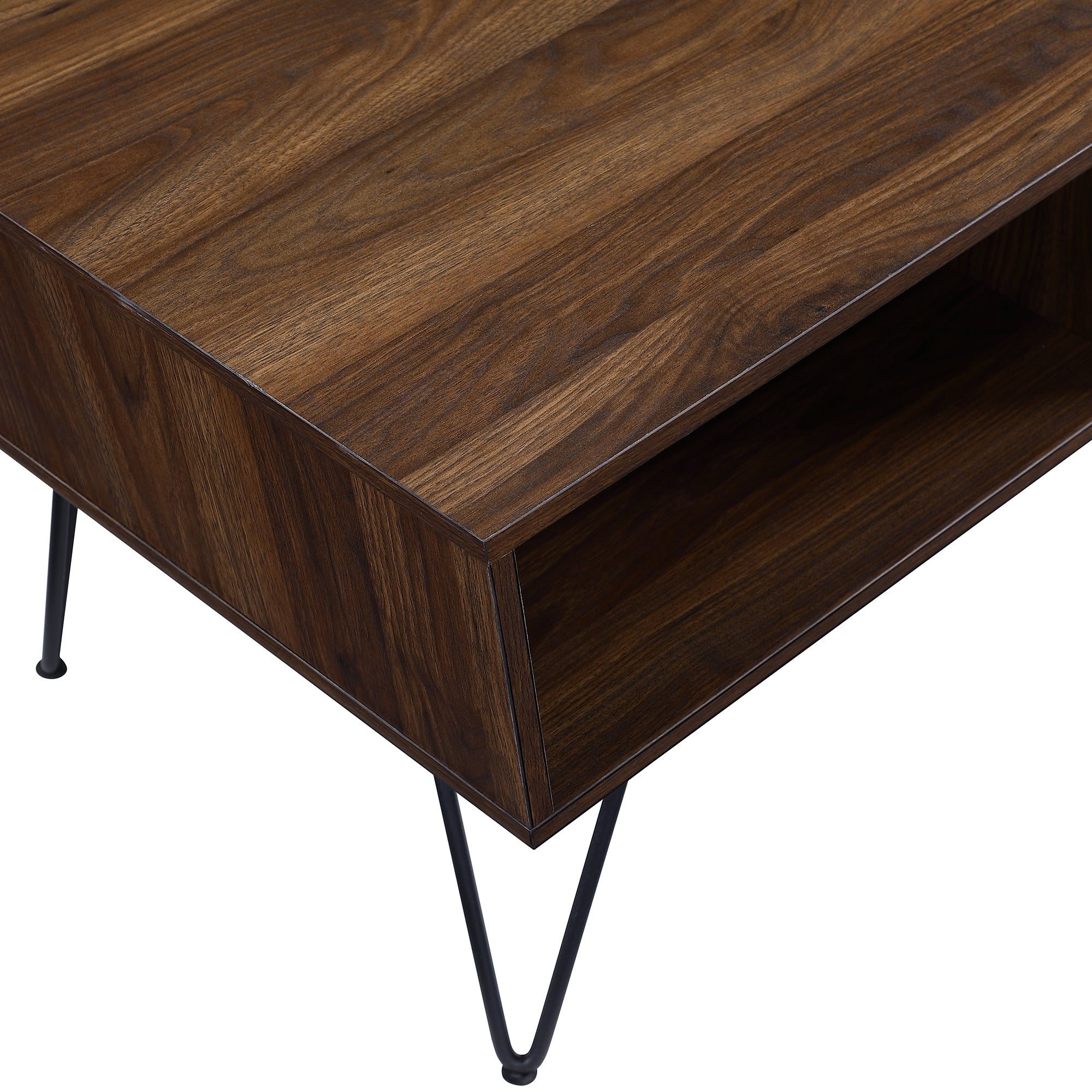 Coffee Table Angled Legs: Mid-Century Angled Coffee Table With Hairpin Legs