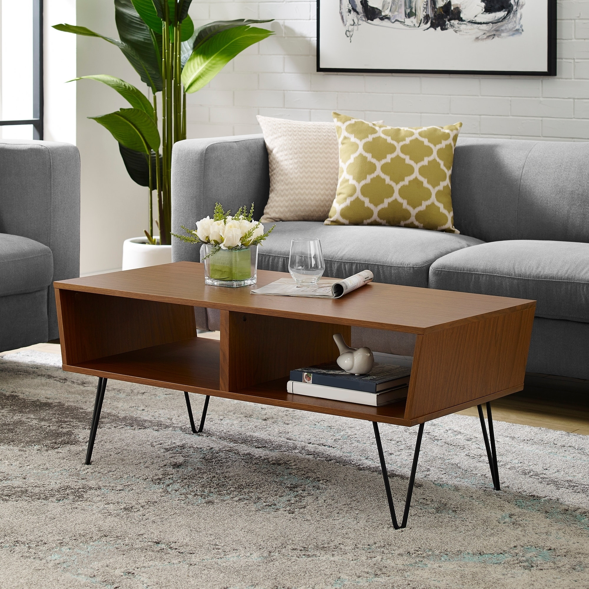 Details About Mid Century Angled Coffee Table With Hairpin Legs 42 X 20 18h