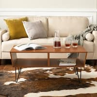 Mid-Century Modern Angled Coffee Table with Hairpin Legs